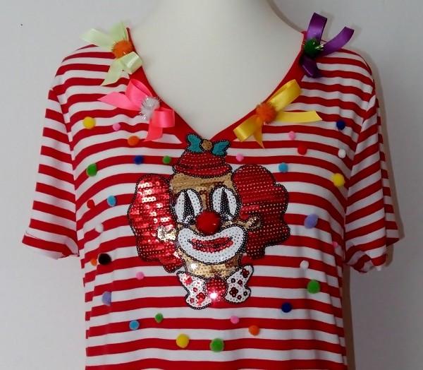 Ringelshirt Größe XL mit Pailletten-Clown